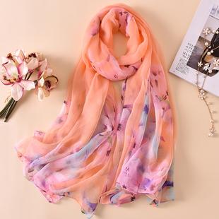 纱巾女士冬天妈妈款韩版中年超大春秋冬季围巾薄款百搭长款丝巾沙