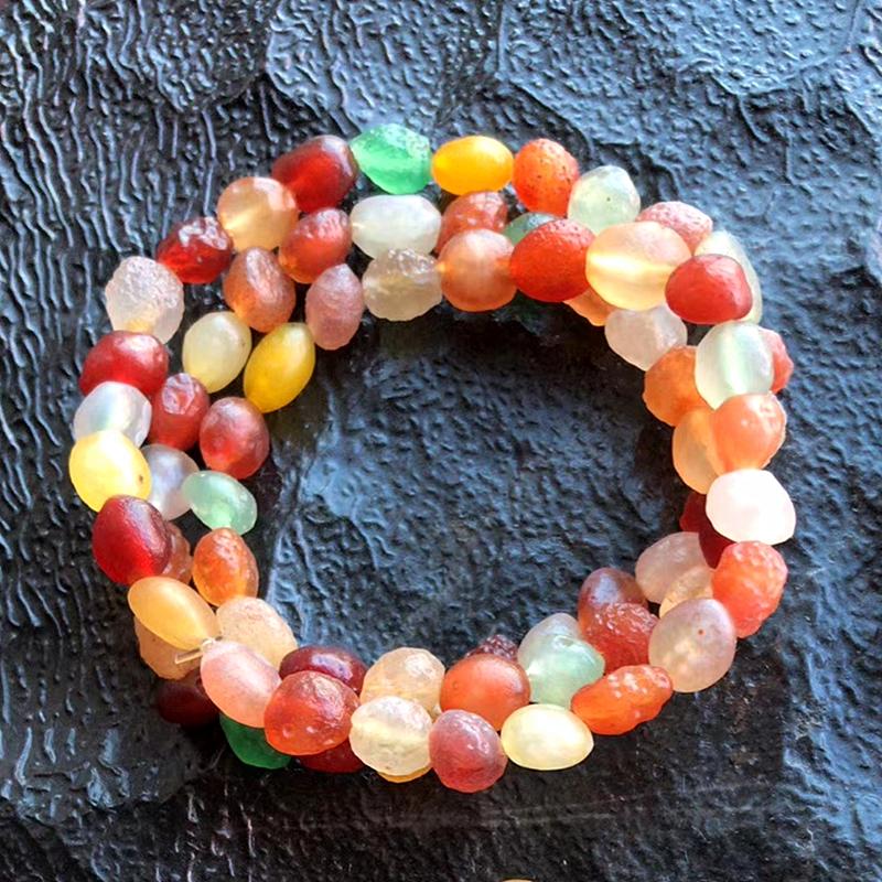 三圈原石手串阿拉善戈壁玛瑙手链饰品转运天然男女款水晶帖色珠