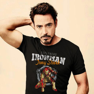 Iron Man theme printed cotton round neck short-sleeved summer casual short-sleeve T-shirt men