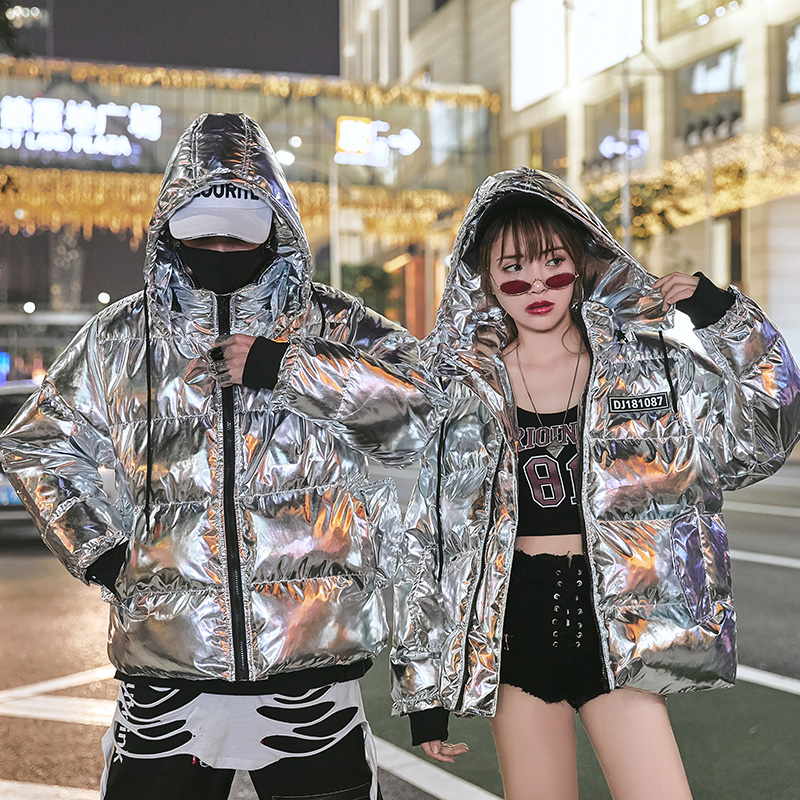 Down and down cotton padded couples winter 2020 mens loose silver ins fashion European station bright cotton coat