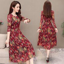 春夏薄款蕾丝连衣裙长袖大码女装韩版中长款显瘦印花过膝长裙子潮