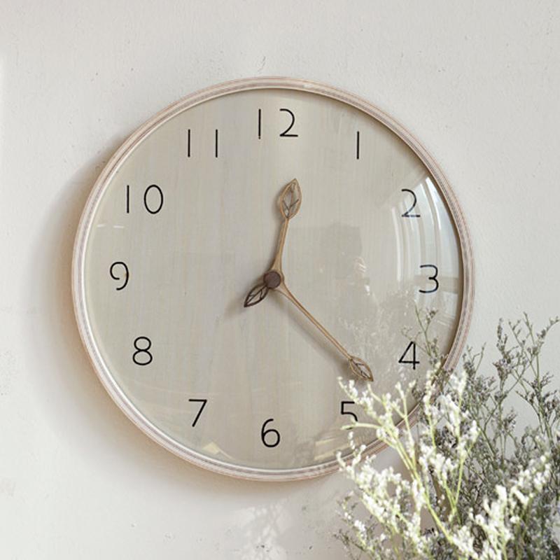 MJK实木时钟客厅超静音钟表原木质挂钟创意大气潮流北欧现代简约