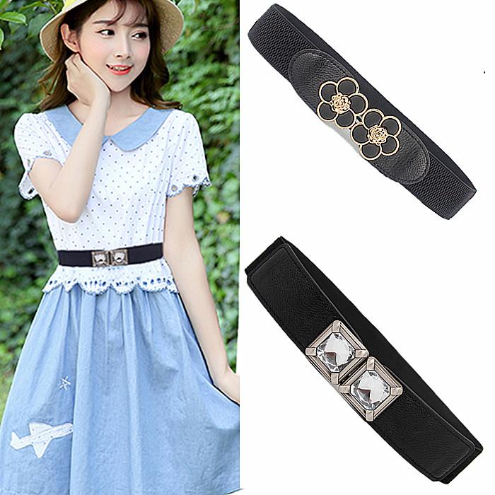 Matching skirt versatile, thin waist seal, Korean womens elastic, thin waist belt, Golden Flower pair buckle, decorative belt, sweet