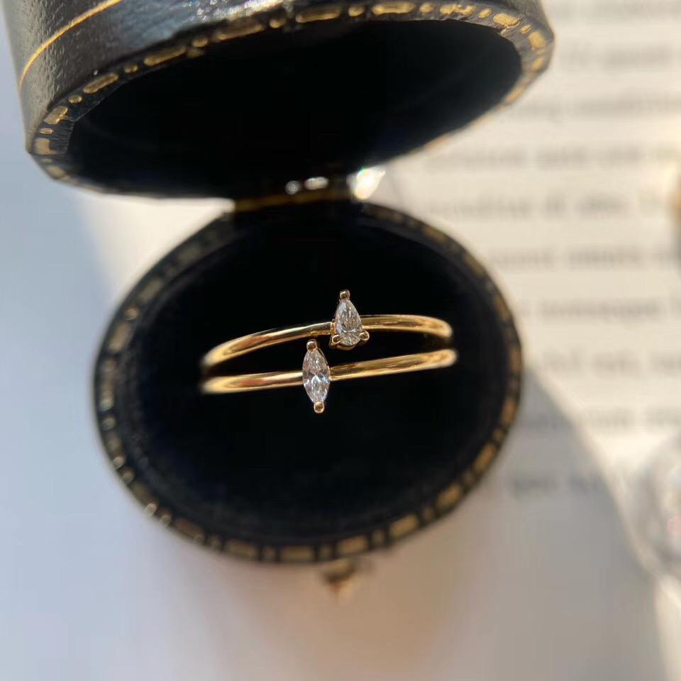 法时珠宝 18K金异形钻石戒指 水滴马眼轻奢简约风