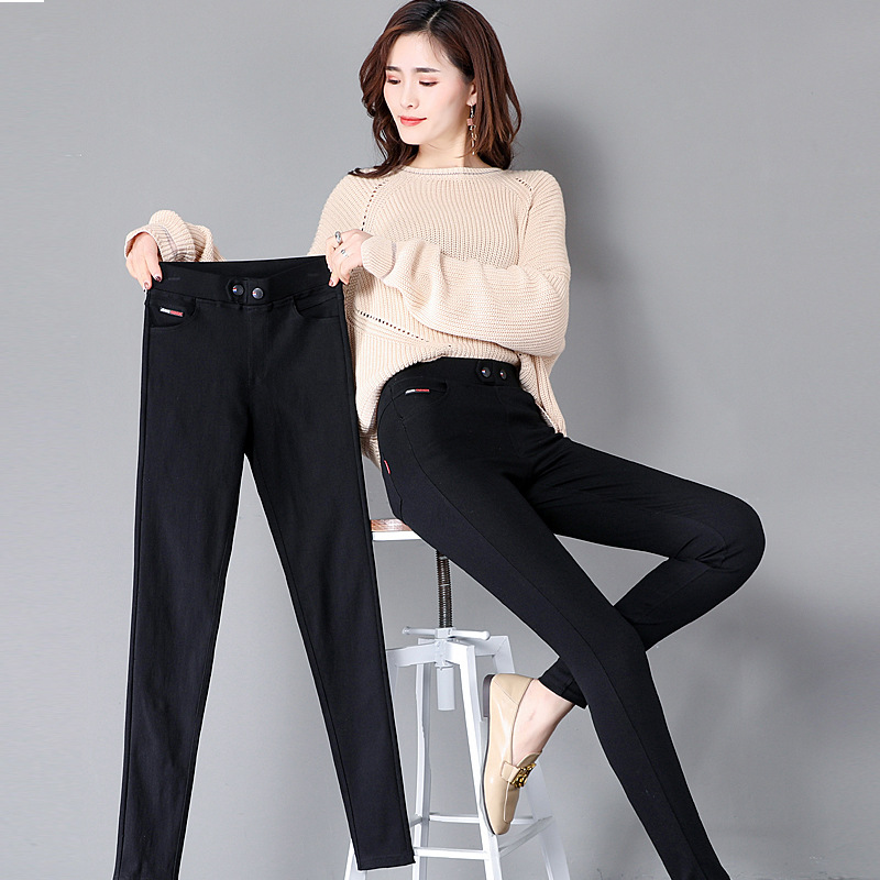 春秋新款大码魔术裤女外穿韩版瘦身显高无紧绷薄款纯色铅笔裤打底