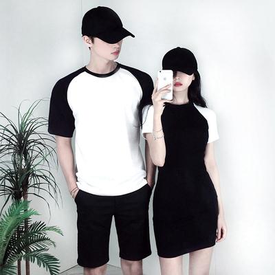 同色系情侣装夏装小众韩版修身黑白纯棉t恤连衣裙你衣我裙设计感