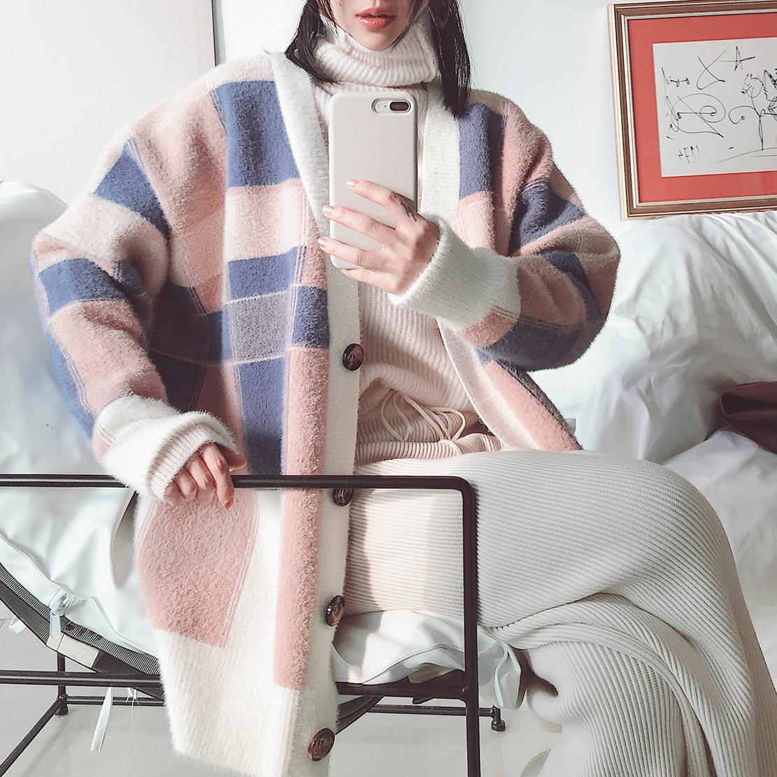 2018冬季新品女装 韩国格纹兔毛仿貂 精品仿貂女士毛呢外套