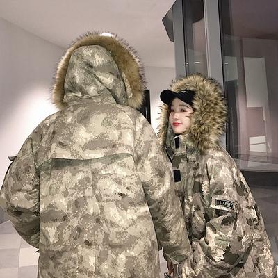冬季新款情侣迷彩大毛领棉衣男士宽松中长款棉服MF879P178控218