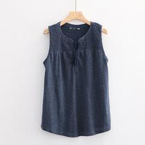 大码系带T恤 夏新款女休闲复古做旧松紧褶皱宽松无袖套头背心8905