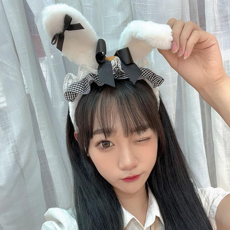 可爱洛丽塔女仆风发箍日系软妹甜美发卡超萌小萝莉大兔耳朵头箍女