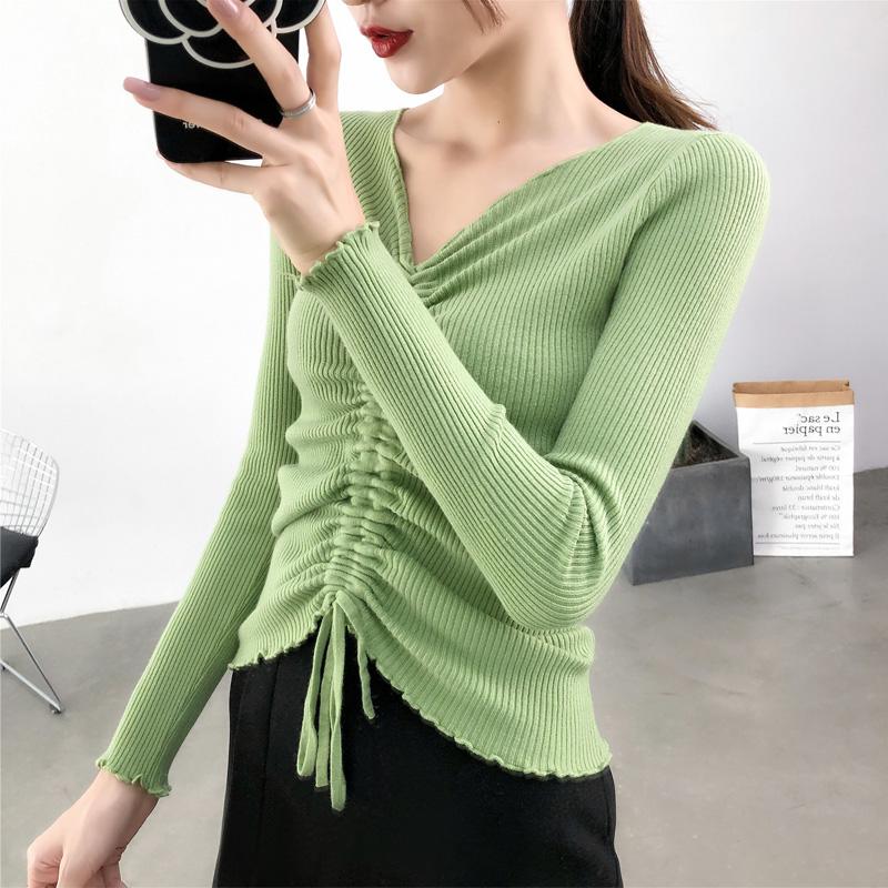 热销303件有赠品油果绿色V领长袖针织衫女士上衣秋季新款修身显瘦抽绳打底衫毛衣