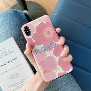 蠶絲紋粉色花8plus/7p/6s蘋果x手機殼XS Max/XR/iPhoneX女iPhone11Pro套硅膠個性創意全包防摔保護套日韓國新
