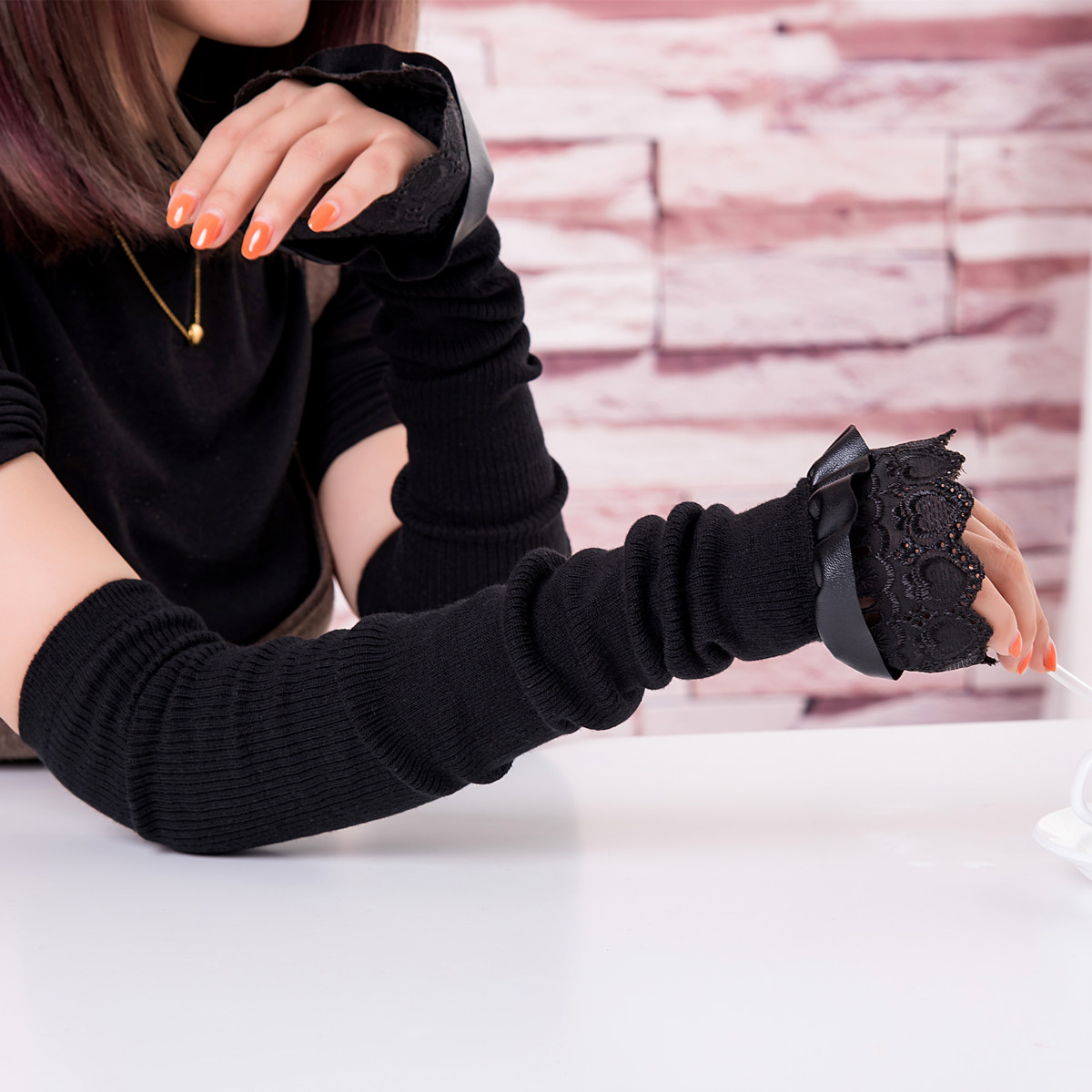 Autumn and winter long cashmere half finger gloves leather bowknot thickened warm arm sleeve sleeve women wool false sleeve