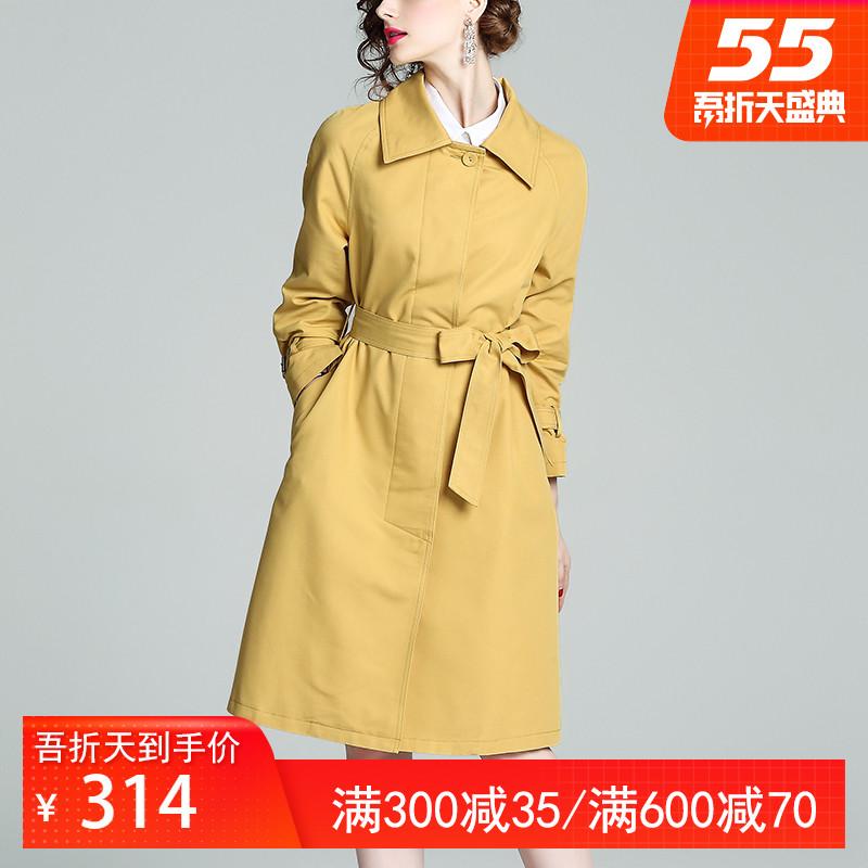 鹿歌风衣女中长款春秋季单排扣简约气质收腰修身直筒长袖外套2020