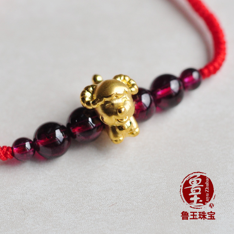 Genuine Luyu jewelry 3D hard gold full gold Zodiac sheep with natural garnet Lucky Red Rope Bracelet