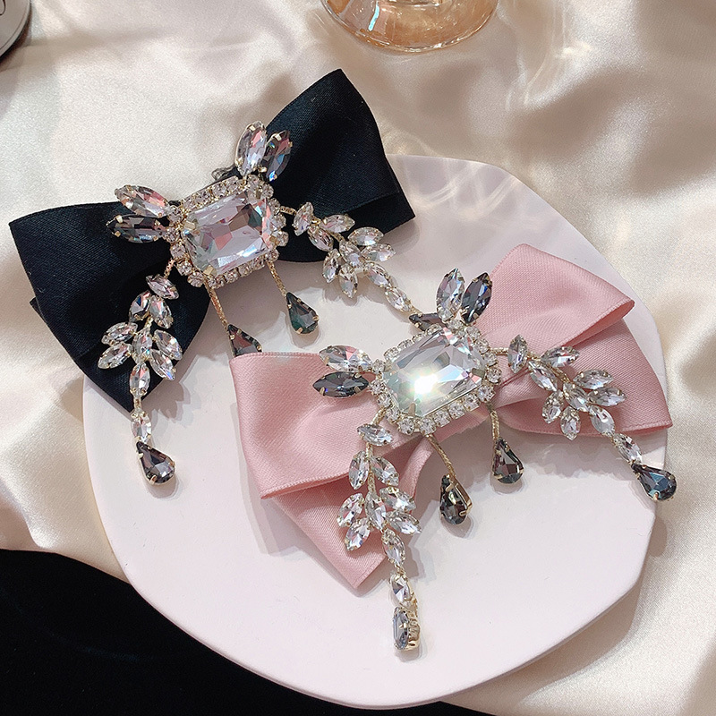 Japanese and Korean elegant bow hairpin sweet girl college wind crystal Lolita accessories lovely diamond hair accessories