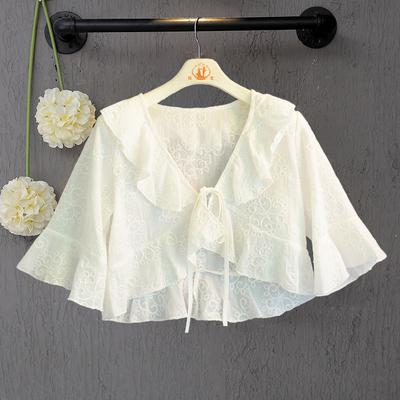 中大童夏季短袖披肩女童纯棉薄款小外套女宝宝配裙子外搭开衫坎肩