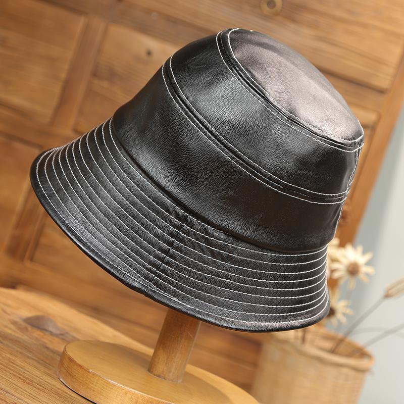 券后59.00元韩国东大门高端pu皮网红韩版渔夫帽