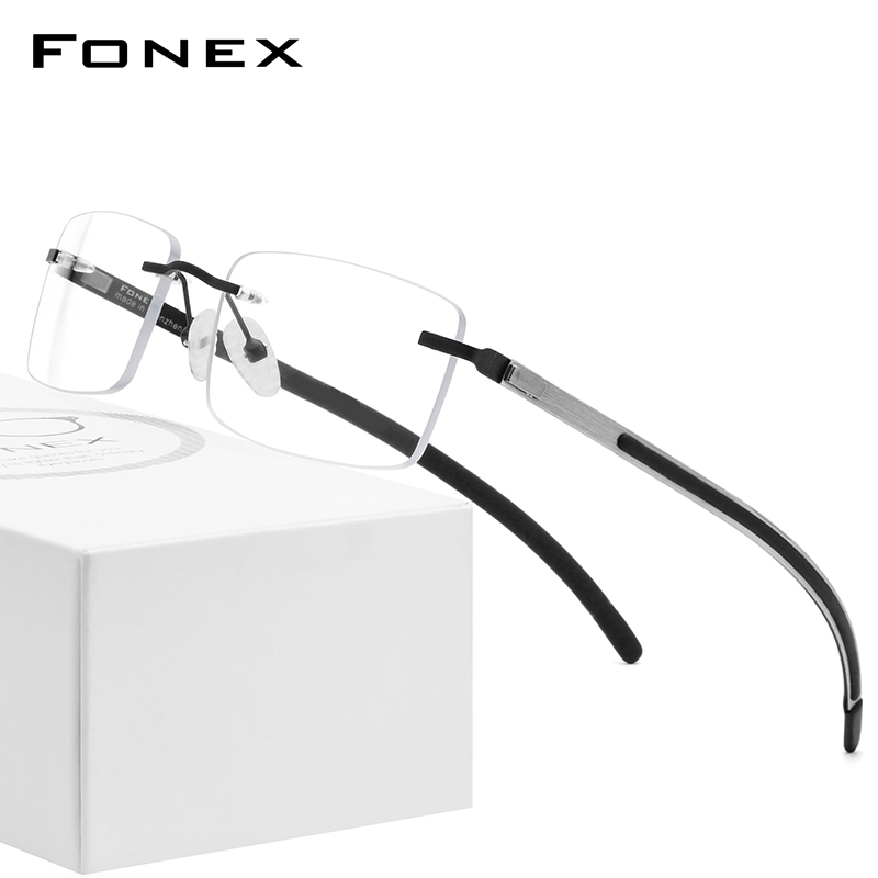 China lens fonex ultra light non slip frameless spectacle frame, male screwless, business square optical frame can be equipped with myopia film