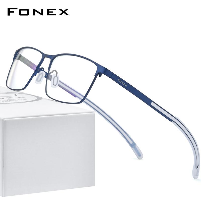 華鏡FONEX超軽量純チタン近視メガネフレーム男性2020新型超弾滑り止めビジネス四角形メガネフレーム