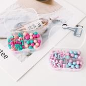 创众 马卡龙彩色图钉盒装造型圆球钉照片墙工字钉66枚混装包邮