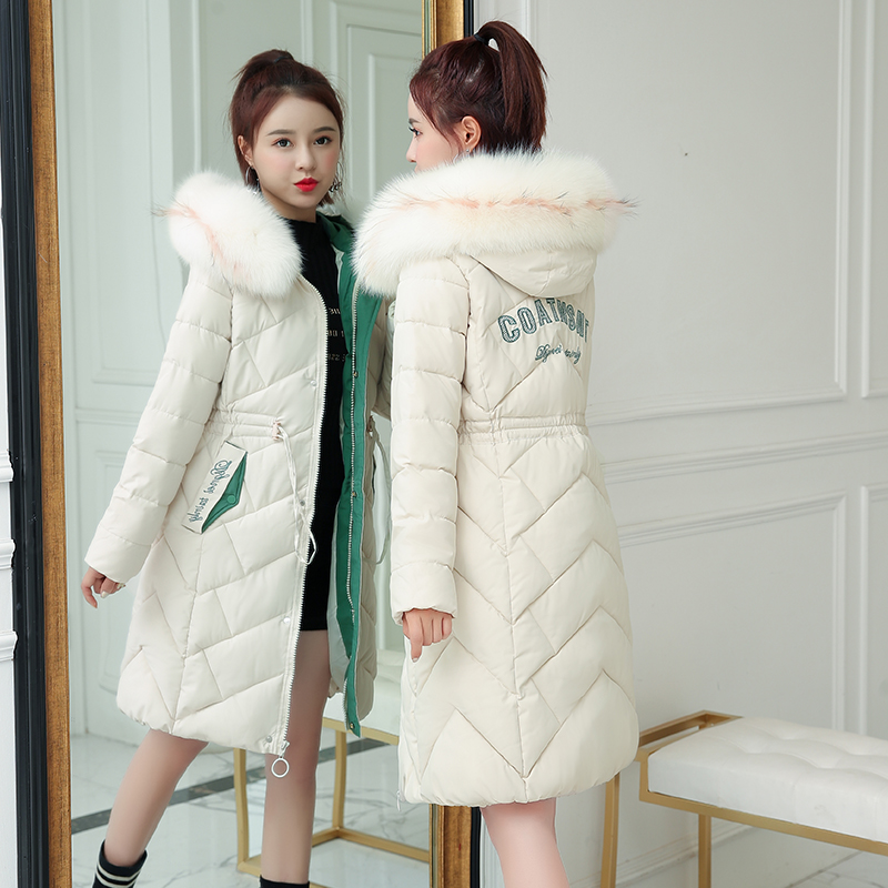2019 new Korean down cotton padded jacket for womens middle and long style slim and slim