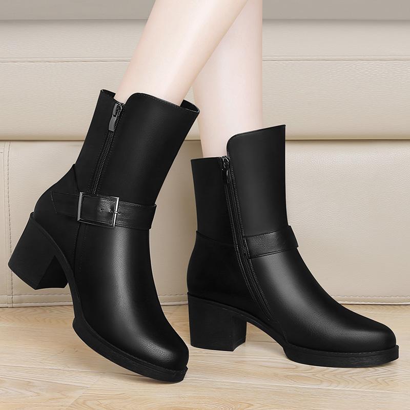 马丁靴女英伦风中筒2017冬季新款高跟时尚女鞋子百搭粗跟加绒