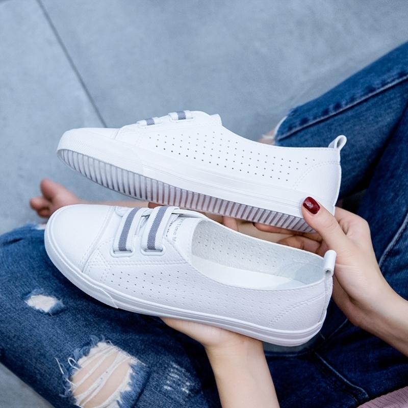 2021年春夏季新款浅口透气小白鞋女鞋子薄款爆款百搭休闲镂空板鞋