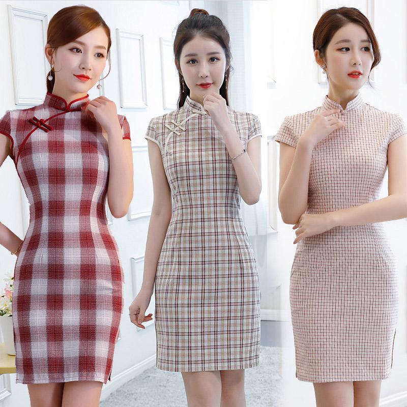 旗袍年轻款少女秋夏季2018新款日常传统改良老上海短款旗袍连衣裙