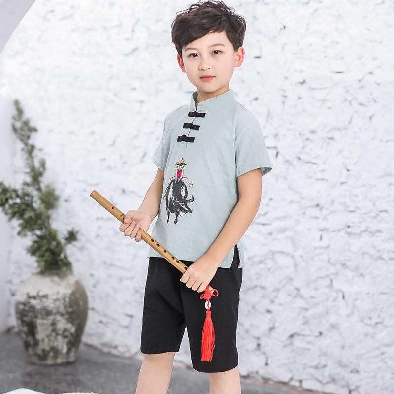 [Summer] famla 2020 new Chinese style childrens wear comfortable original childrens Hanfu boys performance suit