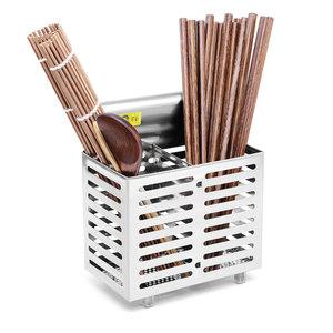 老爹 不锈钢挂式筷子筒 厨房创意沥水筷子架筷笼 韩式双筒快子篓