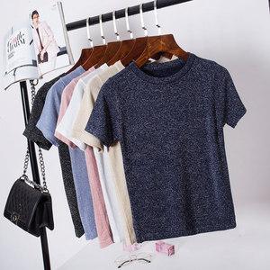 夏季韩版圆领冰丝针织衫女短袖t恤