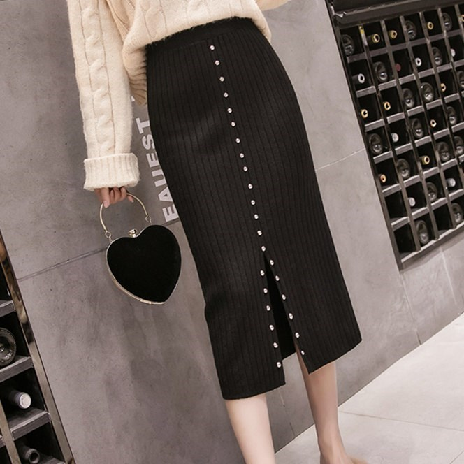 Knitted rivet half skirt autumn and winter womens thickened split one-step skirt wrap hip high waist thin medium and long wool skirt