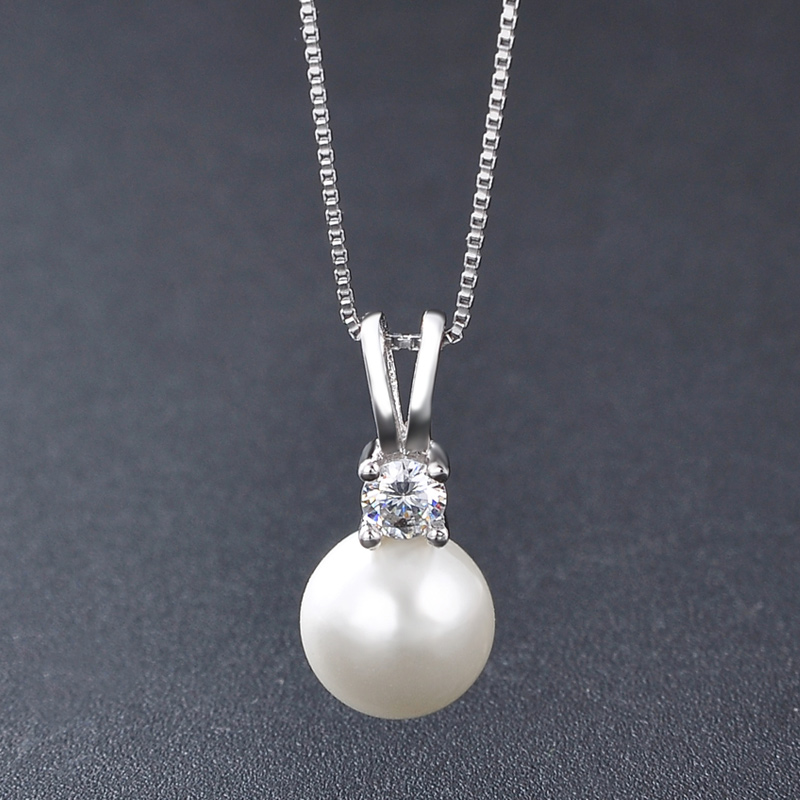 S925 full body Sterling Silver Freshwater Shell Pearl Necklace Pendant Fashion mothers clavicle chain for senior women