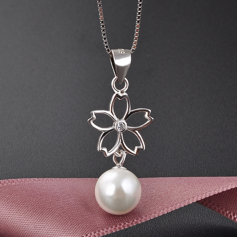 Freshwater shell pearl three-dimensional five petal flower S925 full body Sterling Silver Necklace clavicle chain 2021 new Pendant