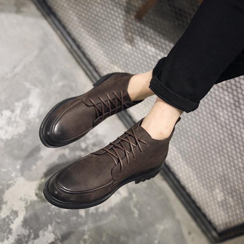 马丁靴男短靴2020冬季复古真皮靴高帮鞋男式英伦百搭加绒潮男靴子