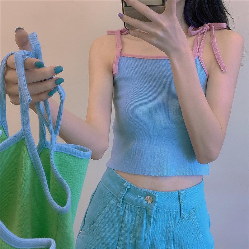 夏季缎面小衫裹胸2020年新款韩版针织吊带背心女外穿洋气内搭上衣