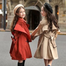 Girls' windbreaker 2020 new spring and autumn clothing, big children's style, medium and long Korean children's clothing, spring British style coat