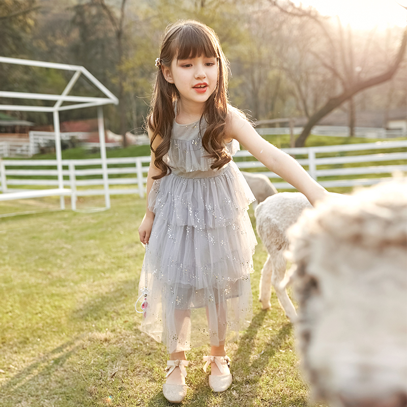 Girls' dress 2020 new summer princess dress, grand children's long dress, super fairy puffed yarn skirt