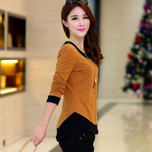 韩版 秋季 长袖 拼接圆领女装 秋衣 女装 纯棉体恤大码 t恤女宽松打底衫