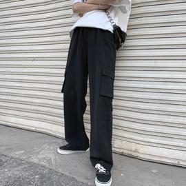 工装裤女裤秋冬2019新款黑色百搭宽松bf高腰直筒裤显瘦阔腿裤垂感图片
