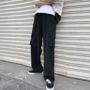 工装裤女夏季薄款黑色宽松高腰直筒裤显瘦小个子拖地阔腿裤垂感