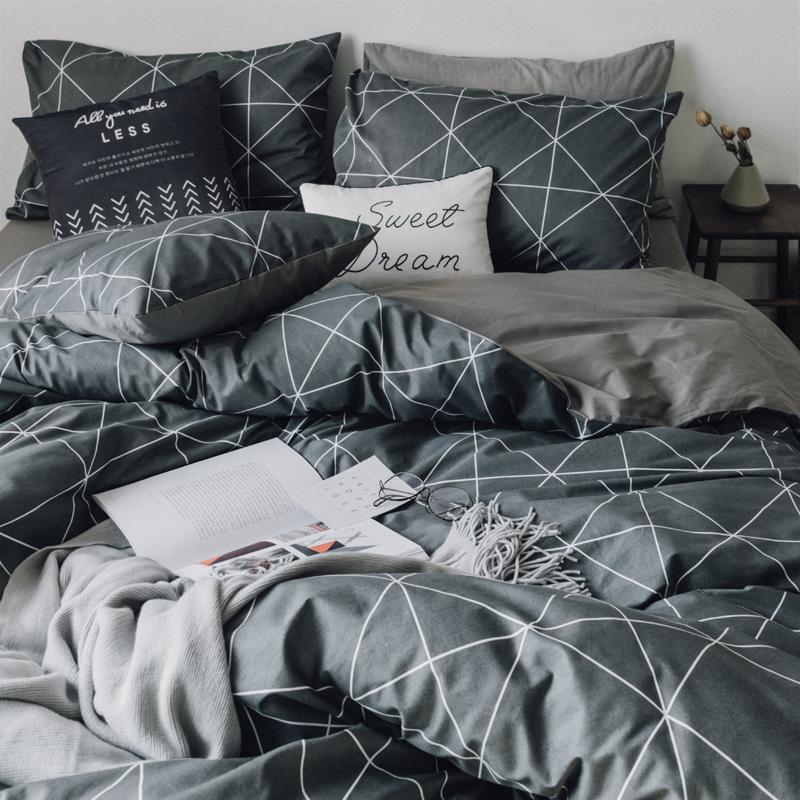 北欧风全棉四件套纯棉被套学生宿舍床单人床上用品被单三件套床笠