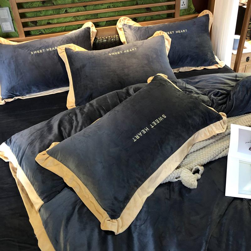 加厚珊瑚绒四件套法兰绒加绒被套秋冬季水晶法莱绒床单床上三件套10-21新券