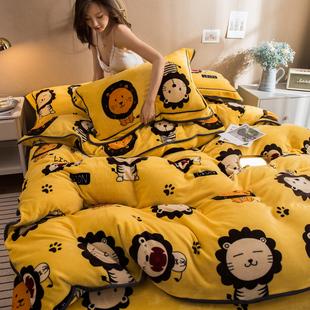 卡通加厚珊瑚绒四件套法兰牛奶双面绒被套冬季儿童床单床上三件套品牌