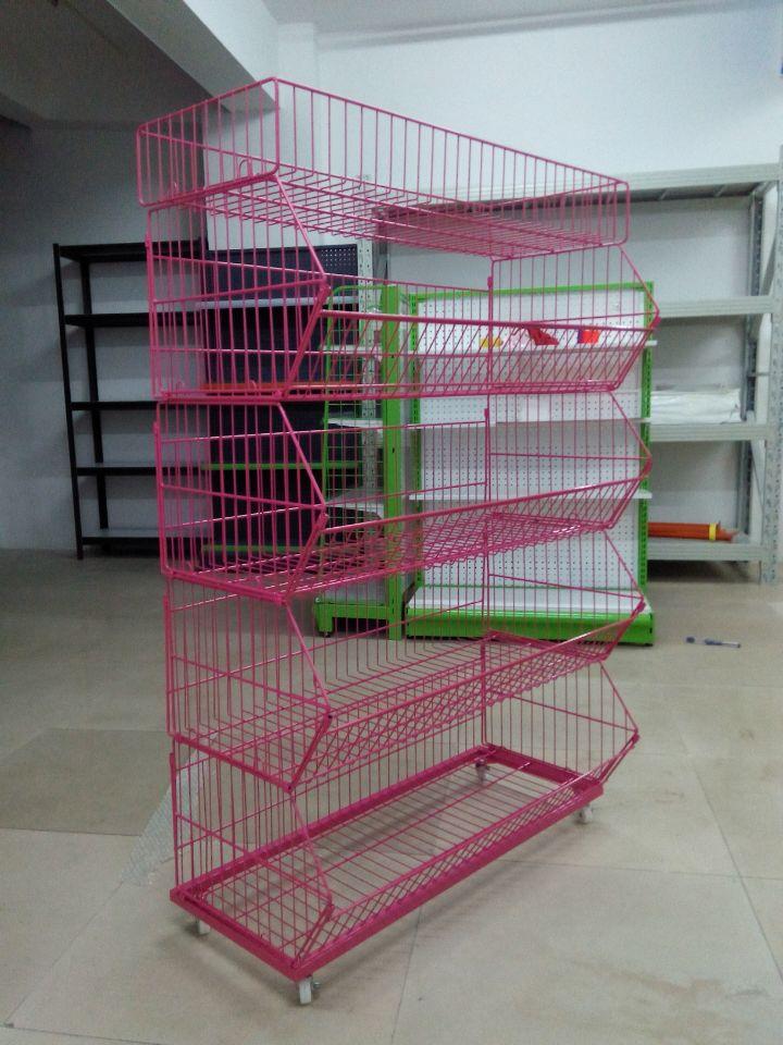 超市斜口篮货架面包架置物架网篮促销架食品架零食货架