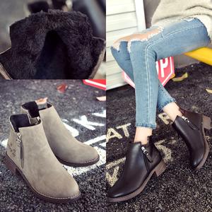 新款亚博体育在线客服女棉鞋秋冬女鞋马丁靴女英伦风裸靴韩版学生加绒女靴