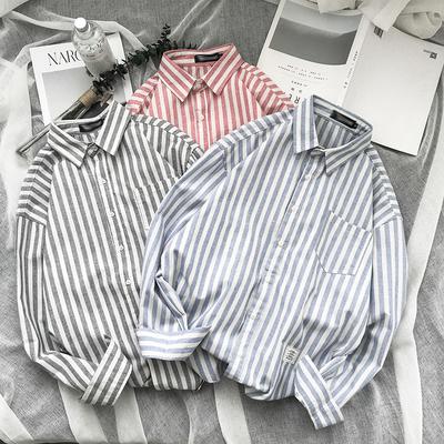 2018秋季新款韩版青少年男式休闲条纹学生长袖衬衣衬衫 H109/45