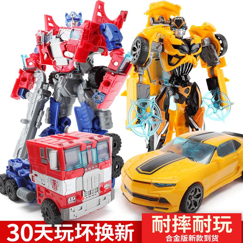 变形玩具金刚5大黄蜂4儿童男孩合金版警车恐龙汽车机器人手办模型