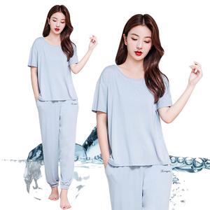 莫代尔薄款睡衣女夏季舒适短袖长裤空调家居服两件套装可外穿韩版